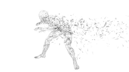 Conceptual abstract man hiding his face with hand. Connected lines, dots, triangles, particles on white background.  Vector illustration.