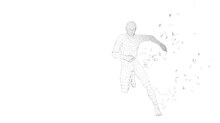 Conceptual abstract running man. Runner with connected lines, dots, triangles, particles on white background. Vector illustration.
