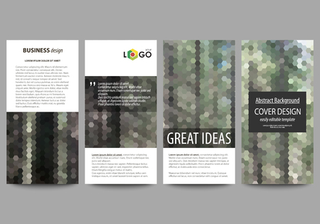 Flyers set, modern banners. Cover design template, abstract vector layouts. Colorful background made of hexagonal texture for travel business, natural landscape in polygonal style.
