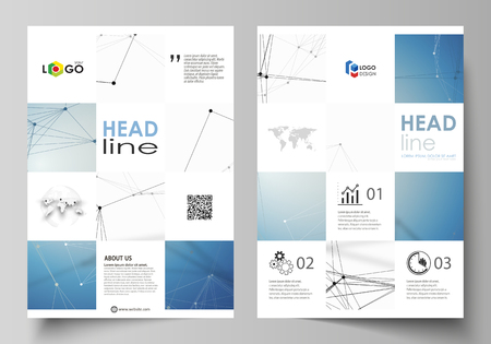 Business templates for brochure, flyer, booklet, report. Cover design template, vector layout in A4 size. Geometric blue color background, molecule structure, science concept. Connected lines and dots