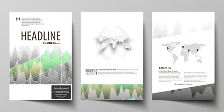 The vector illustration of the editable layout of three A4 format modern covers design templates for brochure, magazine, flyer, booklet. Rows of colored diagram with peaks of different height. Ilustração