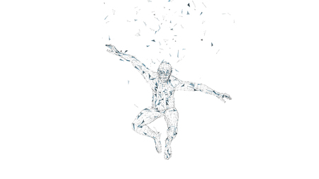 Conceptual abstract man in a jump. Connected lines, dots, triangles, particles isolated on white. Artificial intelligence concept. High technology vector, digital background. 3D render vector illustration