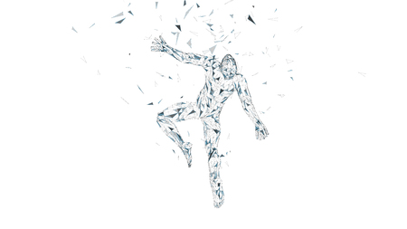 Conceptual abstract man is soaring in air. Connected lines, dots, triangles, particles isolated on white. Artificial intelligence concept. High technology vector, digital background. 3D render vector