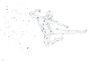 Conceptual abstract man jumping in kung fu kick. Connected lines, dots, triangles, particles. Artificial intelligence concept. High technology vector, digital background. 3D render vector illustration