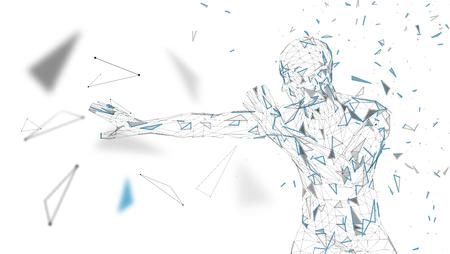 Conceptuele abstracte man is bang voor angst. Verbonden lijnen, punten, driehoeken, deeltjes. Kunstmatige intelligentie concept. Geavanceerd technische vector, digitale achtergrond. 3D render vector illustratie.
