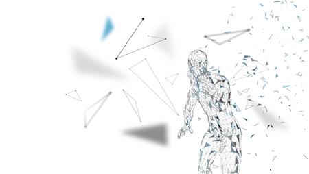 Conceptuele abstracte mens die aan iemand schreeuwt. Verbonden lijnen, punten, driehoeken, deeltjes op een witte achtergrond. Kunstmatige intelligentie concept. Geavanceerd technische vector, digitale achtergrond. 3D render vector illustratie. Stockfoto - 97552654