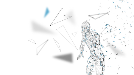 Conceptual abstract man shouting to someone. Connected lines, dots, triangles, particles on white background. Artificial intelligence concept. High technology vector, digital background. 3D render vector illustration. Vettoriali