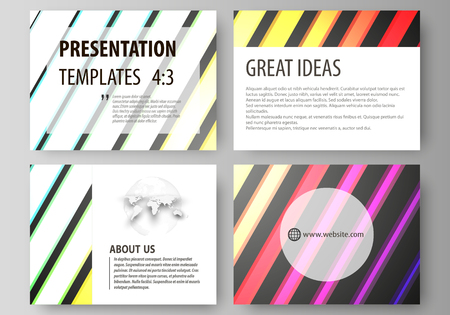 Set of business templates for presentation slides. Easy editable abstract layouts in flat design, vector illustration. Bright color rectangles, colorful design with geometric rectangular shapes forming abstract beautiful background.