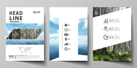Business templates for brochure, magazine, flyer, booklet or annual report. Cover design template, easy editable vector, abstract flat layout in A4 size. Colorful background made of triangular or hexagonal texture for travel business, natural landscape in polygonal style.