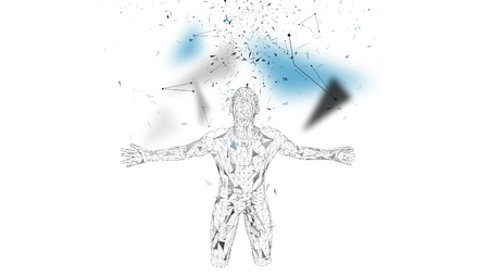 Conceptual abstract man. Connected lines, dots, triangles, particles on white background. Artificial intelligence concept. High technology vector, digital background. 3D render vector illustration.