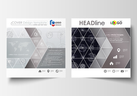 Business templates for square brochure, magazine, flyer. Leaflet cover, flat layout. High tech design, connecting system. Science and technology concept. Futuristic abstract vector background.