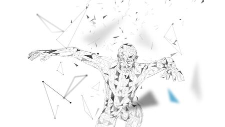 Conceptual abstract man in a jump. Connected lines, dots, triangles, particles. Artificial intelligence concept. High technology vector, digital background. 3D render vector illustration.