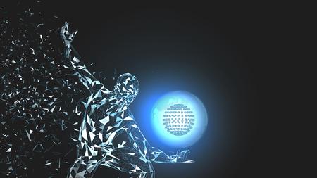 Hombre abstracto conceptual con globo del mundo. Líneas conectadas, puntos, triángulos, partículas. Concepto de inteligencia artificial. Vector de alta tecnología, fondo digital. 3D render ilustración vectorial. Foto de archivo - 99344262