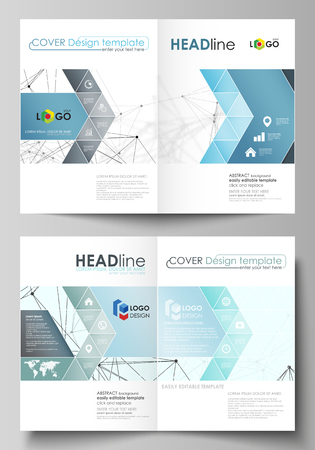 Business templates for bi fold brochure, flyer, report. Cover design template, vector layout in A4 size. Chemistry pattern, connecting lines and dots, molecule structure on white, geometric background. Illustration