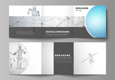Minimal vector illustration of editable layout. Modern creative covers design templates for trifold square brochure or flyer. Artificial intelligence concept. Futuristic science vector illustration.