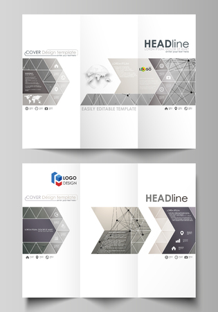 Tri-fold brochure business templates on both sides. Easy editable abstract vector layout in flat design. Chemistry pattern, molecule structure on gray background. Science and technology concept.