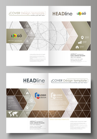 Business templates for bi fold brochure, magazine, flyer, booklet or annual report. Cover design template, easy editable vector, abstract flat layout in A4 size. Alchemical theme. Fractal art background. Sacred geometry. Mysterious relaxation pattern.