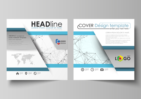 Business templates for square design brochure, flyer, report. Leaflet cover, vector layout. Chemistry pattern, connecting lines and dots, molecule structure on white, geometric graphic background.