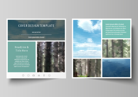 Templates for square design brochure, magazine, flyer, booklet or annual report. Leaflet cover, abstract vector layout. Colorful background, travel business, natural landscape in polygonal style.