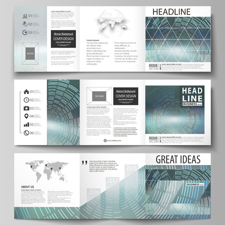 Set of business templates for tri fold square design brochures. Leaflet cover, abstract flat layout, easy editable vector. Technology background in geometric style made from circles.