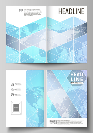 The vector illustration of the editable layout of two A4 format modern cover mockups design templates for brochure, magazine, flyer. Polygonal texture. Global connections, futuristic geometric concept
