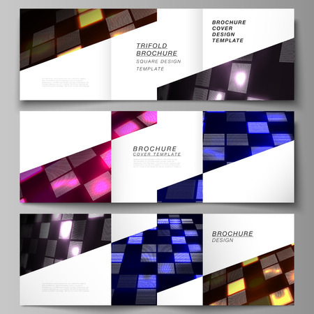 The minimal vector of editable layout. Abstract hi-tech background in perspective. Futuristic digital technology backdrop. Modern covers design templates for trifold square brochure or flyer.