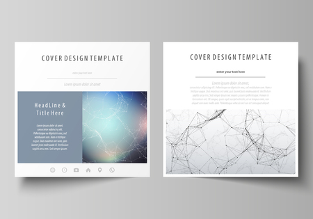 Business templates for square design brochure, magazine, flyer, booklet. Leaflet cover, vector layout. Compounds lines and dots. Big data visualization, minimal style. Graphic communication background Foto de archivo