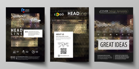 Business templates for brochure, magazine, flyer, annual report. Cover design template, vector layout in A4 size. Abstract backgrounds. Geometrical patterns. Triangular and hexagonal style. Vectores