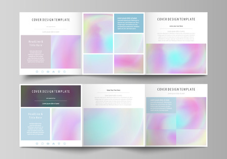 Business templates for tri fold square design brochures. Leaflet cover, abstract vector layout. Hologram, background in pastel colors, holographic effect. Blurred colorful pattern, futuristic texture. Иллюстрация