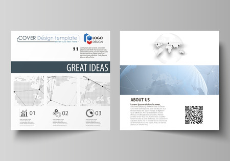 The minimalistic vector illustration of the editable layout of two square format covers design templates for brochure, flyer, booklet. World globe on blue. Global network connections, lines and dots. Illustration