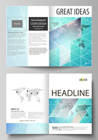 The vector illustration of the editable layout of two A4 format modern cover mockups design templates for brochure, flyer, booklet. Molecule structure, connecting lines and dots. Technology concept. Illustration