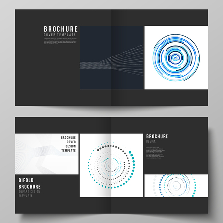 The black colored vector layout of two covers templates with simple geometric background made from dots, circles, rectangles for square design bifold brochure, magazine, flyer, booklet.