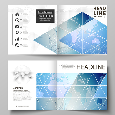 The vector illustration of the editable layout of two covers templates for square design bi fold brochure, magazine, flyer, booklet. World map on blue, geometric technology design, polygonal texture