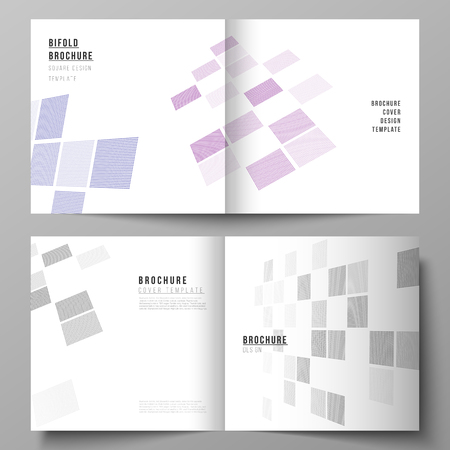 The vector of the editable layout of two covers templates for square design bifold brochure, magazine, flyer, booklet. Abstract hi-tech background in perspective. Futuristic technology backdrop.