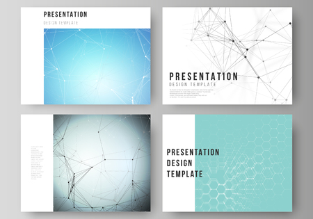 The minimalistic abstract vector layout of the presentation slides design business templates. Technology, science, medical concept. Molecule structure, connecting lines and dots. Futuristic background