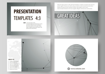 Set of business templates for presentation slides. Abstract vector layouts in flat design. Geometric background, connected line and dots. Molecular structure. Scientific, medical, technology concept.