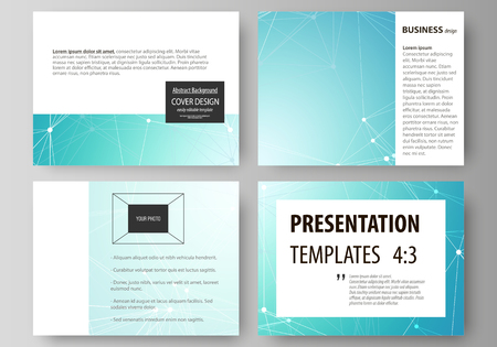 The minimalistic abstract vector illustration of the editable layout of the presentation slides design business templates. Futuristic high tech background, dig data technology concept 向量圖像