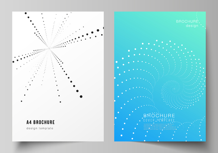 The vector layout of A4 format modern cover mockups design templates for brochure, magazine, flyer, booklet, annual report. Geometric technology background. Abstract monochrome vortex trail