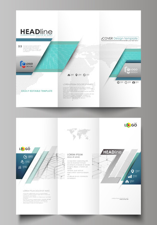 Tri-fold brochure business templates on both sides. Easy editable abstract vector layout in flat design. Chemistry pattern, hexagonal molecule structure on blue. Medicine, science and technology concept.
