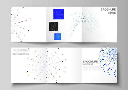 The minimal vector illustration of editable layout. Modern creative covers design templates for trifold square brochure or flyer. Geometric technology background. Abstract monochrome vortex trail