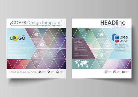 Business templates for square design brochure, magazine, flyer, booklet or annual report. Leaflet cover, abstract flat layout, easy editable vector. Bright color pattern, colorful design with overlapping shapes forming abstract beautiful background. 矢量图像