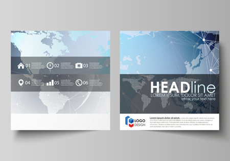 The minimalistic vector illustration of the editable layout of two square format covers design templates for brochure, flyer, booklet. Technology concept. Molecule structure, connecting background. Illustration