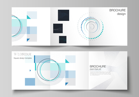 The minimal vector editable layout of two square format covers design templates with simple geometric background made from dots, circles, rectangles for trifold square brochure, flyer, magazine Vetores
