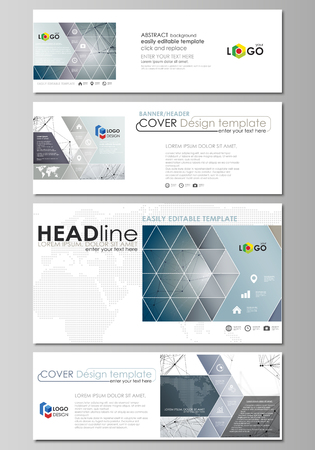 Social media and email headers set, modern banners. Business templates. Easy editable abstract design template, vector layouts in popular sizes. DNA and neurons molecule structure. Medicine, science, technology concept. Scalable graphic.