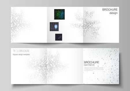 The minimal vector layout of two square format covers design templates for trifold square brochure, flyer. Binary code background. AI, big data, coding or hacker concept, digital technology background.