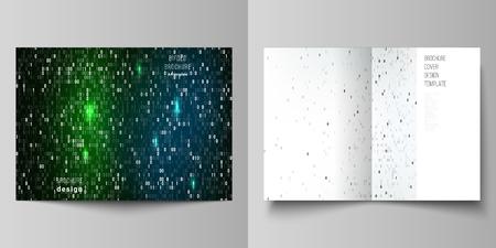 Diseño vectorial de dos plantillas de diseño de maquetas de portada moderna en formato A4 para folleto bifold, flyer, folleto. Fondo de código binario. AI, big data, codificación o concepto de hacker, fondo de tecnología digital Ilustración de vector
