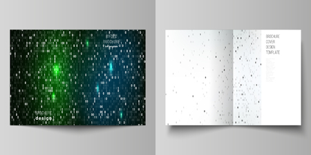 Vector layout of two A4 format modern cover mockups design templates for bifold brochure, flyer, booklet. Binary code background. AI, big data, coding or hacker concept, digital technology background