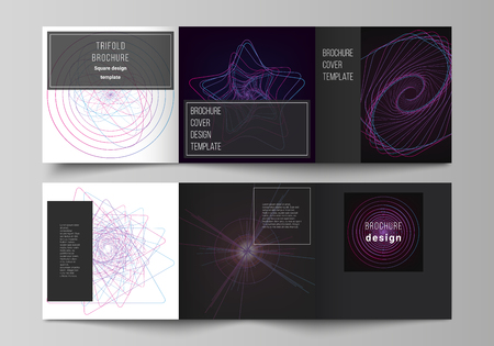 Vector layout of two square format covers design templates for trifold square brochure, flyer. Random chaotic lines that creat real shapes. Chaos pattern, abstract texture. Order vs chaos concept.