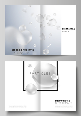 Vector layout of two A4 format cover mockups design templates for bifold brochure, flyer, booklet, report. Spa and healthcare design. Soft color medical consept background with molecules or particles