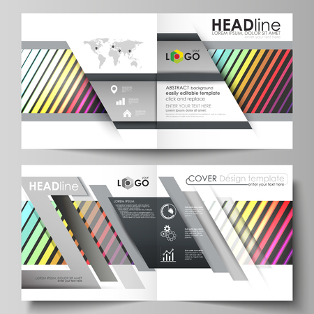 Business templates for square design bi fold brochure, magazine, flyer, booklet or annual report. Leaflet cover, abstract flat layout, easy editable vector. Bright color rectangles, colorful design with geometric rectangular shapes forming abstract beautiful background.